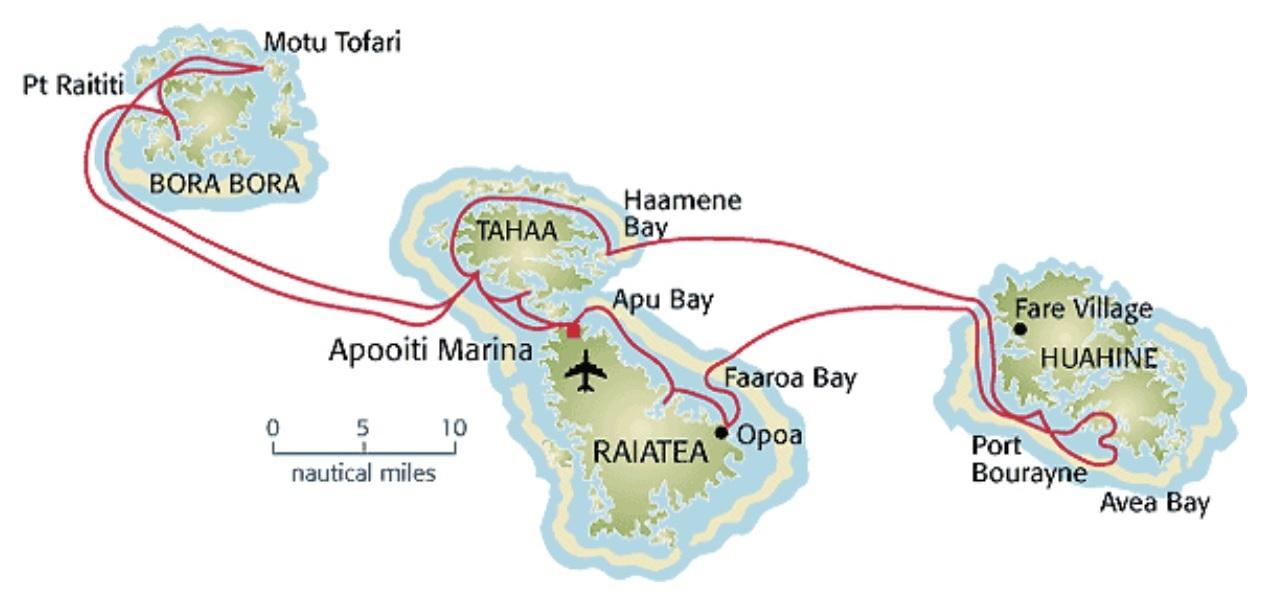 Polinezja trasa mapa